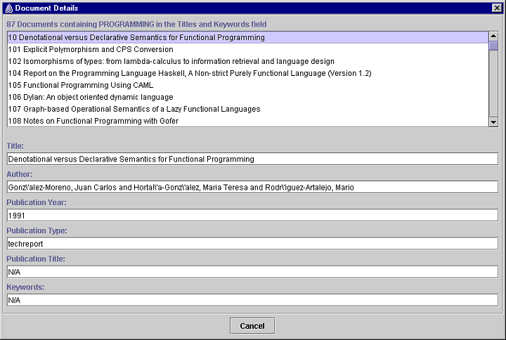 Screenshot of the Document Visualizer's document details dialog