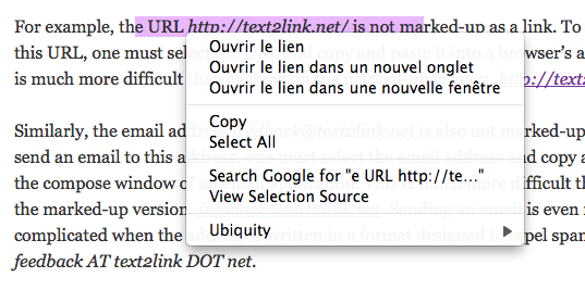 Text2Link's French locale