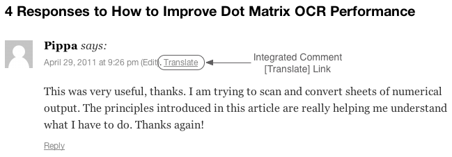 The integrated [Translate] link inserted into a comment by the Google AJAX Translation WordPress plugin