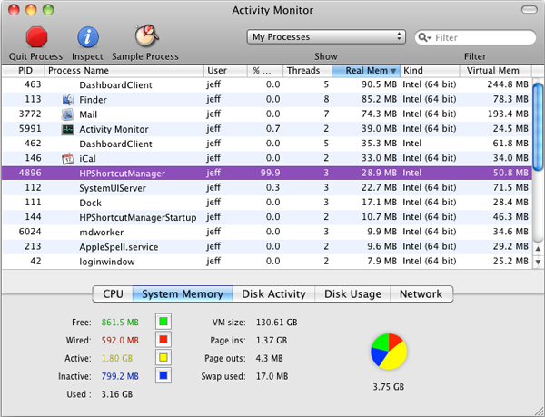 The Mac OS X Activity Monitor application