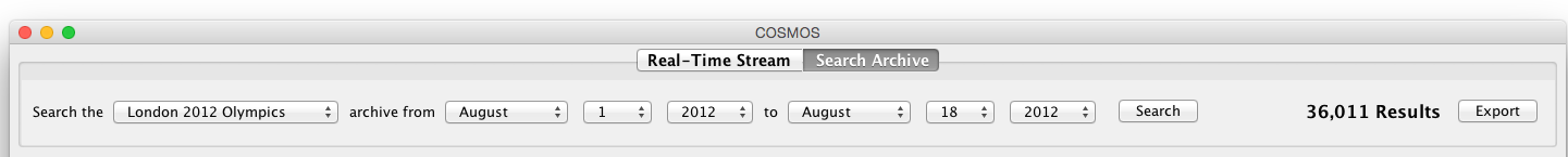 The COSMOS One Archive Search tab