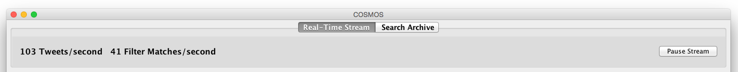 The COSMOS One Real Time tab