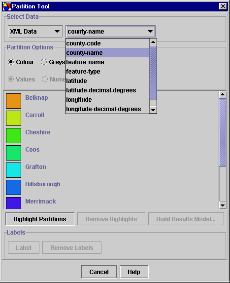 The Partition tool dialog settings for partitioning the New Hampshire model by county name