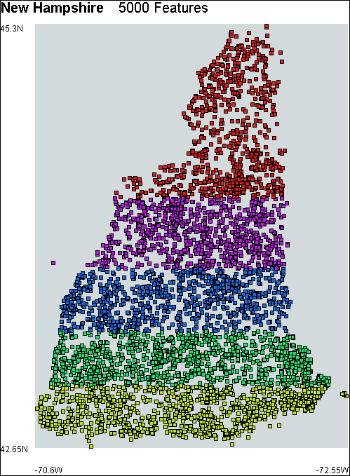 The New Hampshire model partitioned into numeric ranges of the longitude of the features