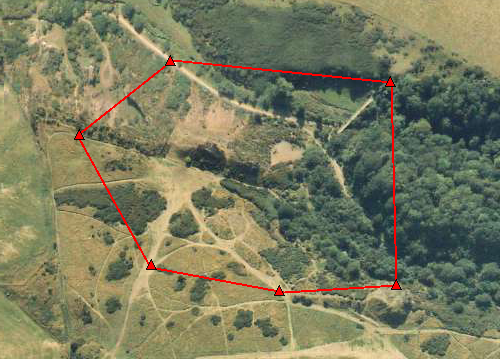 Frame 1 of the Aerial Contour Sequence model overlaid on the aerial photograph