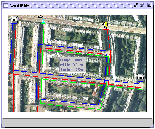 Aerial Utility model XML data window for a utility pipe