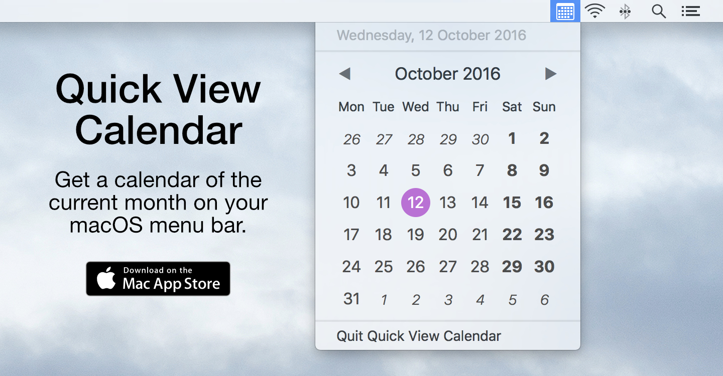 Download Quick View Calendar from the Mac App Store