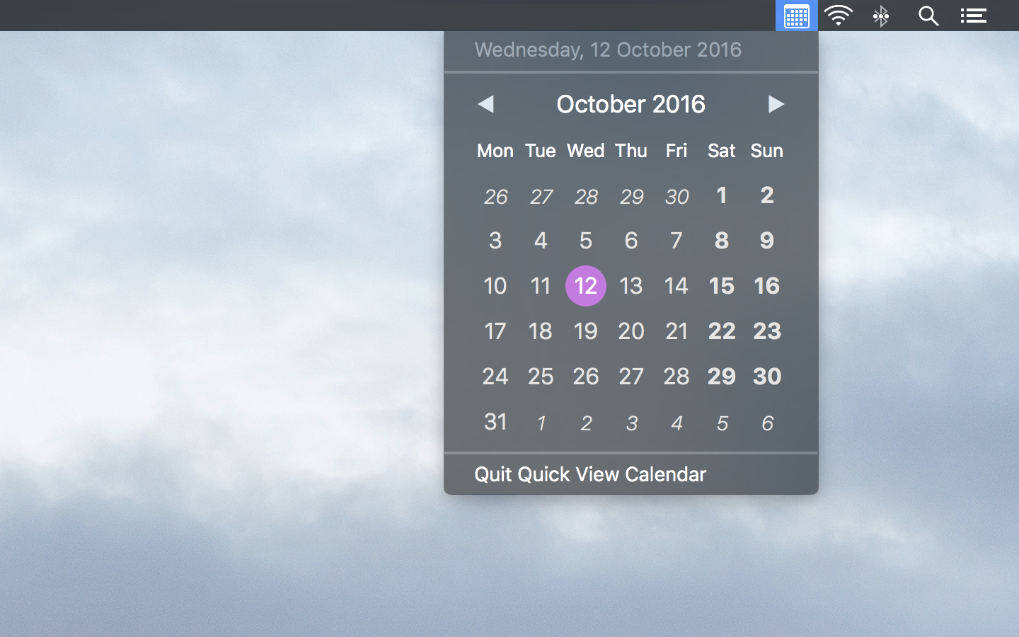 Quick View Calendar adapts to dark menu bar mode