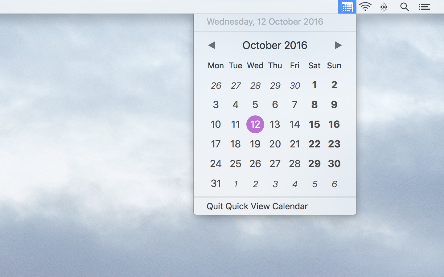 Quick View Calendar adapts to light menu bar mode